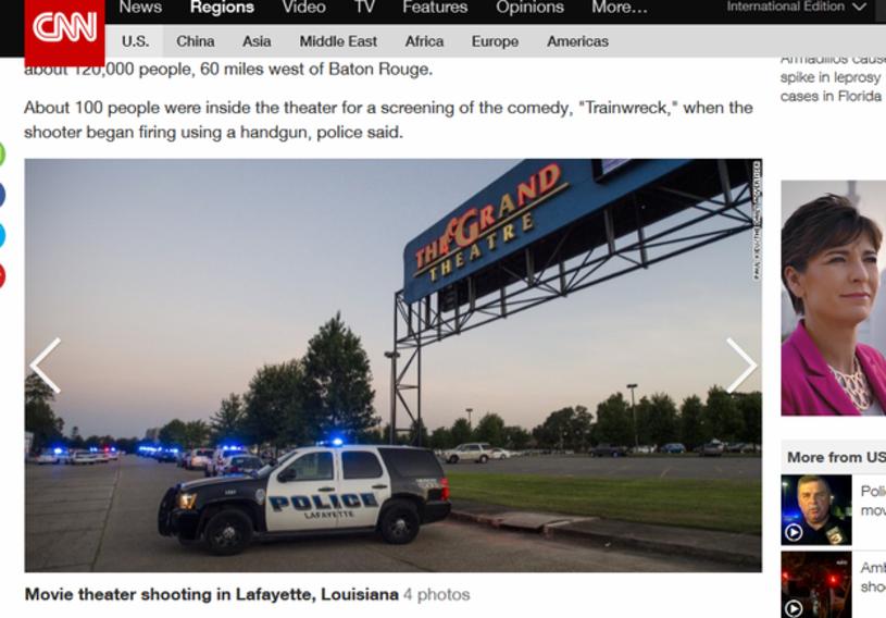 Nieznany sprawca otworzył ogień do widzów w kinie w mieście Lafayette, w stanie Luizjana, zabijając jedną osobę  i dziewięć raniąc -  poinformowały lokalne media. Według policji, napastnik odebrał sobie życie.