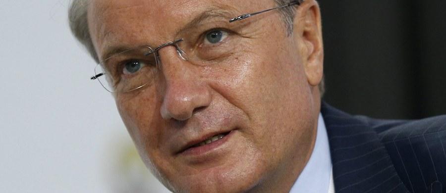 """Dumie żąda dymisji """"głównego bankiera Rosji"""". German Gref, szef największego rosyjskiego banku - Sbierbank, kontrolowanego przez państwo, oświadczył, że Rosja to kraj nieudaczników – """"downshifterów"""" , który przegrał światowy wyścig o dominację gospodarczą."""