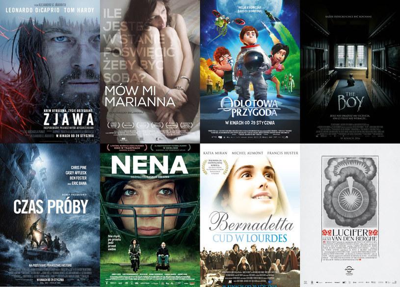 """Mająca aż 12 szans na Oscara """"Zjawa"""" i katastroficzny dramat """"Czas próby"""" z Chrisem Pine'em to dwie z ośmiu premier, które trafiają na ekrany kin w ostatni piątek stycznia. Widzowie będą mogli również obejrzeć w kinie opowiadający o tytułowej transseksualistce dokument Karoliny Bielawskiej """"Mów mi Marianna"""", ciekawą walkę o rząd dusz kinowych stoczą też francuski film """"Bernadetta. Cud w Lourdes"""" i belgijski eksperyment filmowy """"Lucyfer""""."""