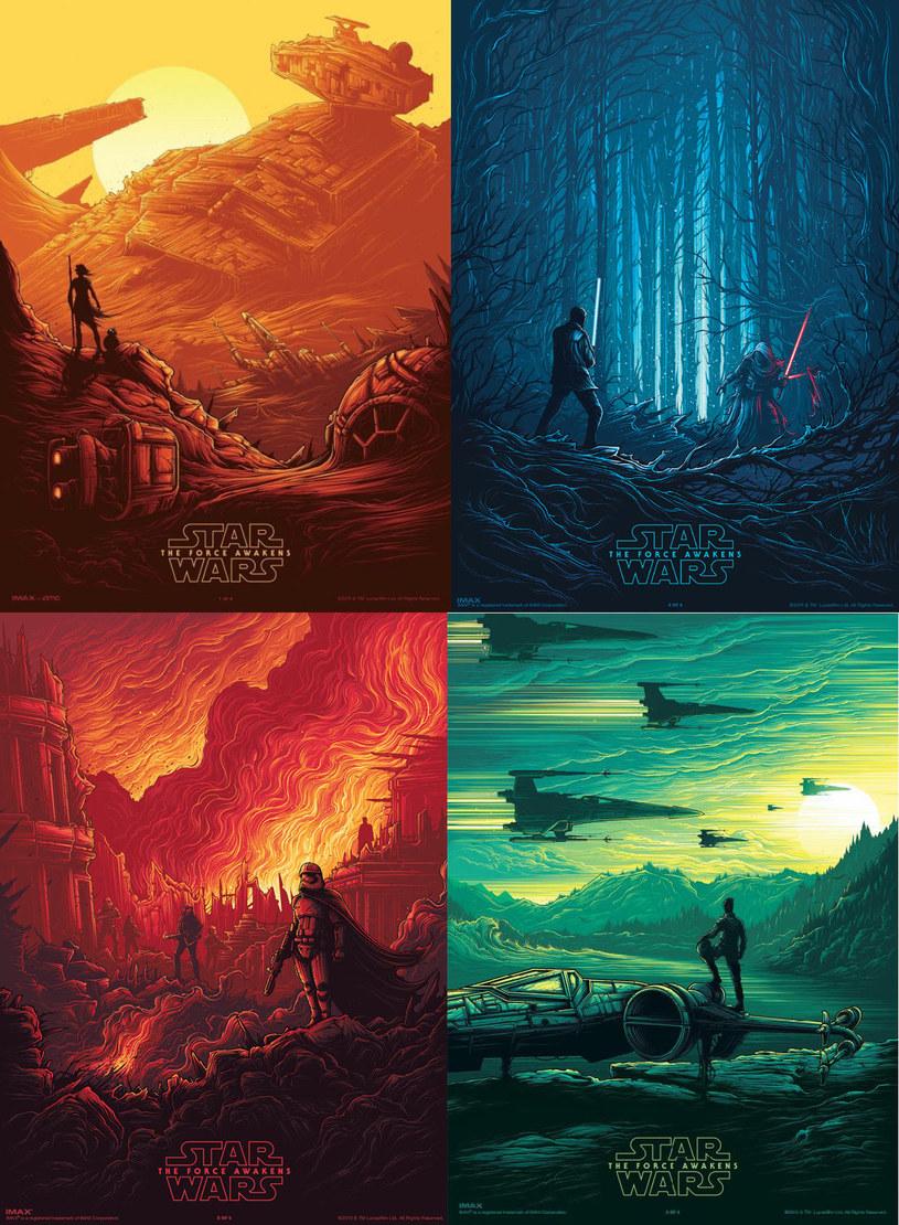 """Już 14 lutego, w sieci kin IMAX, miłośnicy sagi  Gwiezdnych wojen będą mieli niepowtarzalną okazję zdobyć kolekcjonerską serię czterech unikatowych plakatów """"Gwiezdne wojny: Przebudzenie Mocy"""", autorstwa brytyjskiego rysownika Dana Mumforda. Pełna kolekcja trafi w ręce pierwszych trzystu osób, które 14 lutego, o godz. 13 wybiorą się na seans filmu do jednego z pięciu kin IMAX."""