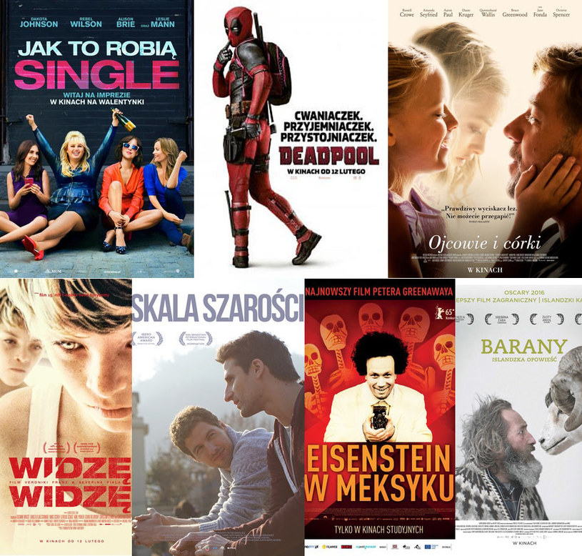 """W piątek, 12 lutego, na ekrany polskich kin trafia 7 premierowych tytułów. Ryana Reynoldsa zobaczymy w ekranizacji komiksu """"Deadpool"""", gwiazda """"50 twarzy Greya"""" - Dakota Johnson - pokaże nam """"Jak to robią single"""" a Russell Crowe w """"Ojcach i córkach"""" wcieli się w pisarza, który przechodzi załamanie nerwowe. Listę premier uzupełnia: komediodramat 'Barany. Islandzka opowieść"""", nowy film Petera Greenawaya """"Eisenstein w Meksyku"""", austriacki dramat 'Widzę, widzę"""" oraz gejowska historia miłosna z Chile - """"Skala szarości""""."""