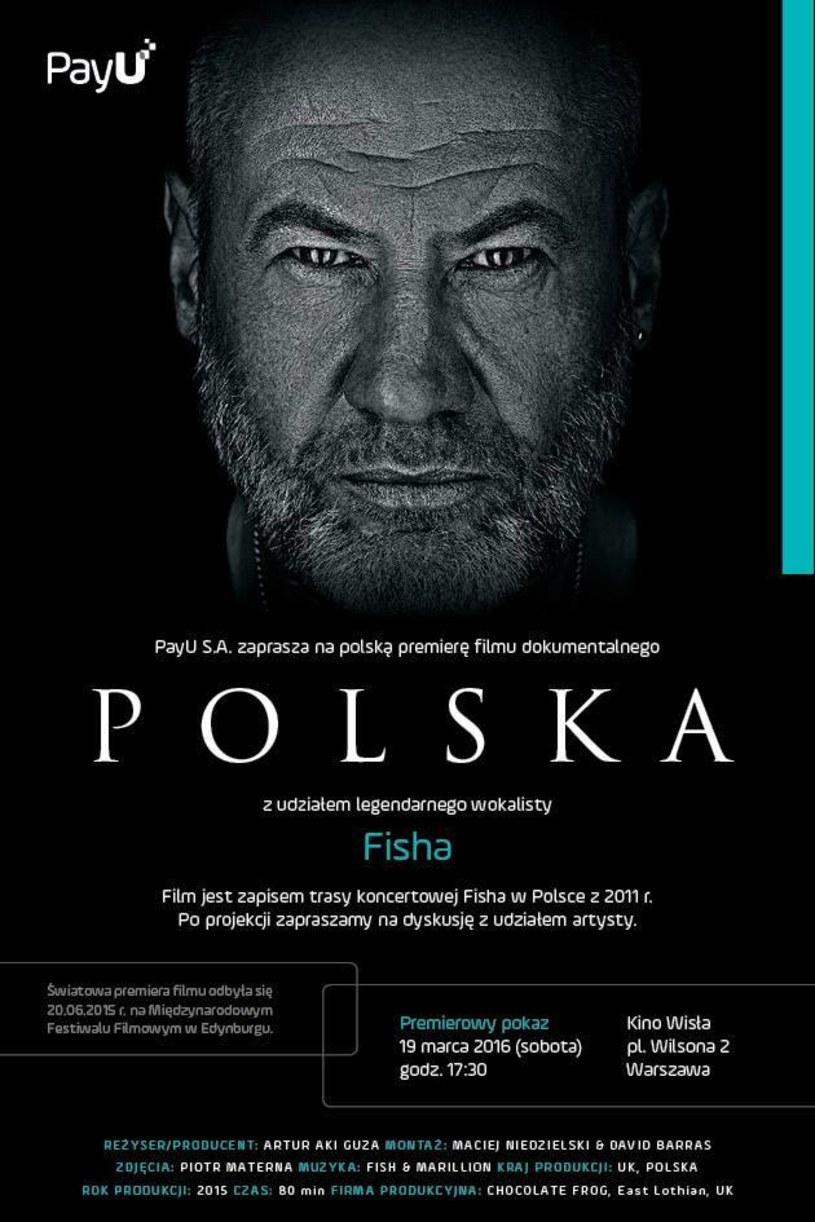 """W sobotę (19 marca) w Kinie Wisła w Warszawie odbędzie się polski premierowy pokaz dokumentalnego filmu """"Polska"""" o Fishu, byłym wokaliście grupy Marillion."""