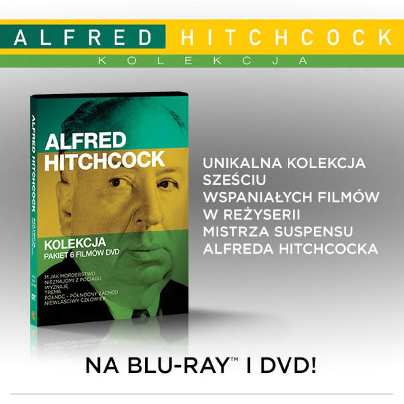 """Ekskluzywna kolekcja filmów mistrza suspensu - Alfreda Hitchcocka - zadowoli miłośników klasycznego kina. W ramach kolekcji na Blu-ray i DVD ukażą się filmy """"Wyznaję"""" oraz """"Niewłaściwy człowiek"""", a na DVD """"Trema"""", """"Nieznajomi z pociągu"""", """"M jak morderstwo"""" i """"Północ - północny zachód"""". Ten ostatni został uznany za jedną ze stu najlepszych produkcji w historii amerykańskiego kina. Filmy dostępne będą także w 6-płytowym pakiecie DVD """"Kolekcja Alfreda Hitchcocka""""."""