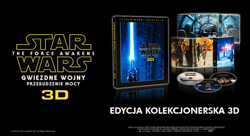 """3 listopada na sklepowe półki trafia ekskluzywne wydanie kolekcjonerskie filmu """"Gwiezdne wojny: Przebudzenie Mocy"""" na Blu-ray 3D."""