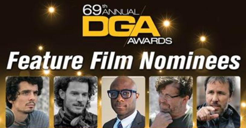 """Amerykańska Gildia Reżyserów (DGA) ogłosiła nominacje do corocznych nagród. Wśród pięciu nominowanych znaleźli się: Damien Chazelle (""""La La Land""""), Garth Davis (""""Lion. Droga do domu""""), Barry Jenkins (""""Moonlight""""), Kenneth Lonergan (""""Manchester by the Sea"""") i Denis Villeneuve (""""Nowy początek"""")."""