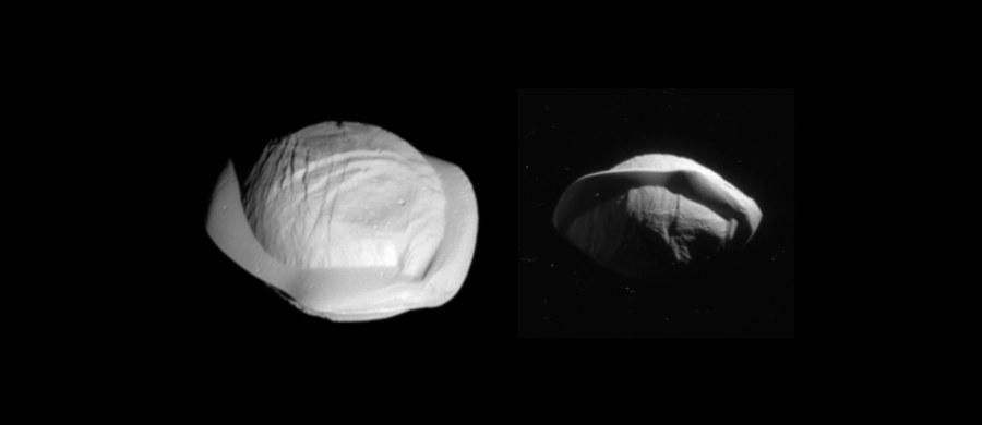NASA opublikowała kolejne zdjęcia księżyca Pan, w obiektywie krążącej wokół Saturna - i zbliżającej się do końca swej misji - sondy Cassini. Pokazują one dokładniej niezwykły kształt tej kosmicznej skały, przypominający - zdaniem niektórych - pierożki ravioli. Na zdjęciach widać Pana zarówno od północnej, jak i południowej strony. 7 marca sonda dokonała największego podczas całej swej misji zbliżenia do tego księżyca, z odległości niespełna 25 tysięcy kilometrów pokazała go z 8-krotnie większą dokładnością, niż kiedykolwiek wcześniej. Sonda wykonała też ostatnio niezwykłe zdjęcia innego z księżyców Saturna - Mimasa.