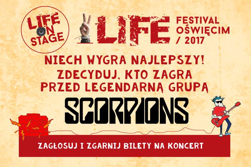 Startuje kolejny etap konkursu Life On Stage - teraz to twój głos może zdecydować o tym, kto 24 czerwca wystąpi podczas finałowego koncertu Life Festival Oświęcim z udziałem m.in. grupy Scorpions i LP.