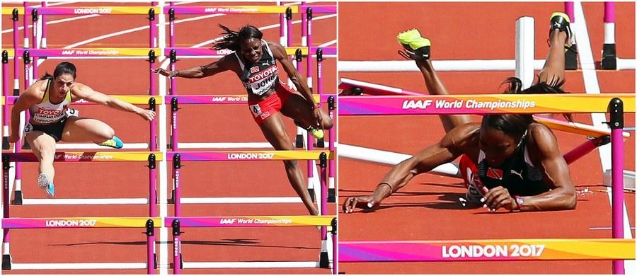 Groźny wypadek biegaczki z Trynidadu i Tobago przyćmił rywalizację w eliminacjach biegu na 100 m ppł na mistrzostwach świata w Londynie. Startująca w ostatniej serii Deborah John upadła na bieżni i przez kilka minut leżała nieprzytomna. Zabrano ją stamtąd na noszach.