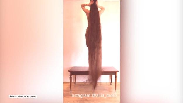 Aliia Nasyrova z Łotwy pokazała w internecie filmik, na którym rozpuszcza swoje niezwykle długie włosy. Są dłuższe, niż do ziemi, więc dziewczyna musiała w tym celu stanąć na stoliku. Rzeczywiście, ta fryzura robi wrażenie. (STORYFUL/x-news)