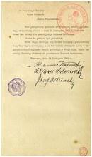 Akt przekazania władzy Józefowi Piłsudskiemu przez Radę Regencyjną, 14 listopada 1918 r.; AAN, Kancelaria Cywilna Naczelnika Państwa, sygn. 1