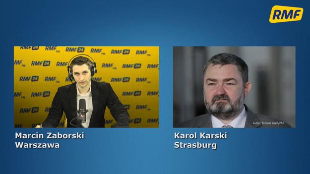 """""""Póki co mamy wątpliwości co do skuteczności prawnej tego odwołania"""" – tak o odwołaniu Ryszarda Czarneckiego z funkcji wiceprzewodniczącego Parlamentu Europejskiego mówi w Popołudniowej rozmowie w RMF FM Karol Karski. """"Na pewno powinien się odwołać od tej decyzji, może zostać uchylona przez Trybunał Sprawiedliwości Unii Europejskiej. Gdyby nie nocna zmiana interpretacji regulaminu Parlamentu Europejskiego, Ryszard Czarnecki nadal byłby wiceprzewodniczącym Parlamentu Europejskiego, zabrakłoby dwóch głosów do jego odwołania"""" – uważa gość Marcina Zaborskiego. """"Solidaryzujemy się z Ryszardem Czarneckim, uważamy, że został odwołany w sposób niewłaściwy"""" – dodaje."""
