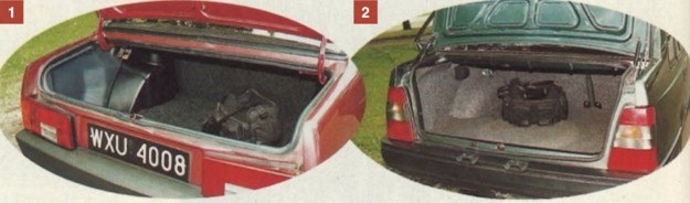 [1] Bagażnik Samary ma pojemność 430 dm3. Wysoko umieszczona dolna krawędź pokrywy bagażnika utrudnia jednak załadunek ciężkich przedmiotów. [2] Polonez ma mniejszy, ale łatwiej dostępny bagażnik o pojemności 360 dm3. /Motor