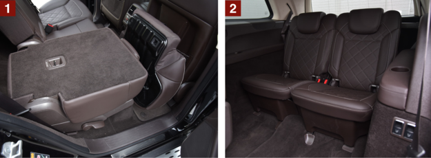 [1] By uzyskać płaską powierzchnię, trzeba złożyć siedzisko. [2] Dwa elektrycznie składane fotele w bagażniku są wyposażeniem seryjnym GLS-a. /Motor