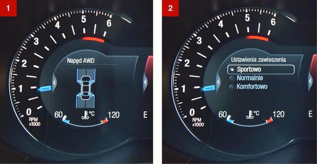 [1] Ekran pokazuje rozkład momentu pomiędzy osiami. [2] Wybór trybów jazdy – tylko poprzez komputer pokładowy. /Motor