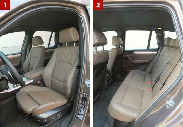 [1] Fotele w najczęściej spotykanych wersjach są skórzane, ale z ręczną regulacją. Na zdjęciu: wersja komfortowa z rozsuwanym siedziskiem, dodatkowo profilowanym oparciem i pamięcią ustawienia. [2] Szerokością wnętrza X3 dorównuje klasowemu liderowi (Hondzie CR-V), przestrzenią na nogi ustępuje mu o znikome wartości. /Motor