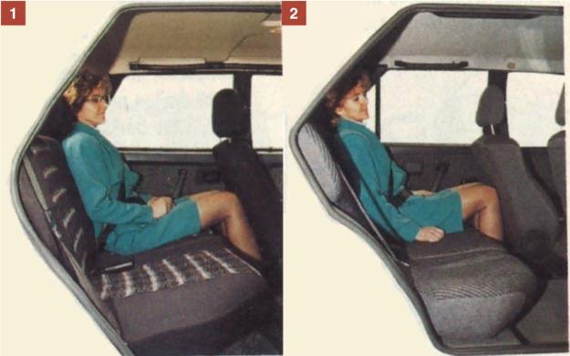 [1] Gdy fotel kierowcy w Samarze cofniemy maksymalnie, z tyłu miejsca wystarczy najwyżej dla osoby średniego wzrostu. [2] Podobnie jest zresztą w Polonezie, choć pasażer będzie miał trochę więcej miejsca na nogi. Oparcie tylnego fotela pochylone jest pod mniejszym kątem niż w Samarze. /Motor