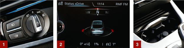 [1] Łatwiej się nie da. Pokrętło świateł i włączniki lamp przeciwmgłowych. [2] Na ekranie systemu multimediów można wyświetlać aktualne dane dotyczące m.in. kierunku jazdy, czy działania napędu xDrive. [3] Pod przesuwaną klapką w konsoli środkowej znalazło się miejsce na dwa kubki. /Motor