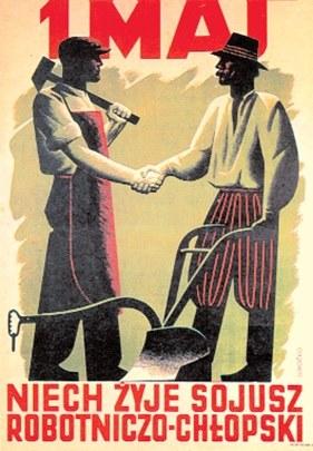 1 Maj. Niech żyje sojusz robotniczo-chłopski, plakat Konstantego Sopoćki, 1948 r. /Encyklopedia Internautica