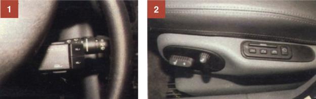 1. Manipulator do sterowania radiem bez odrywania dłoni od kierownicy. 2. W najbogatszych wersjach Laguny można mieć skórzaną tapicerkę oraz elektryczną regulację fotela kierowcy wraz z pamięcią zaprogramowanej pozycji siedzenia i oparcia. /Motor
