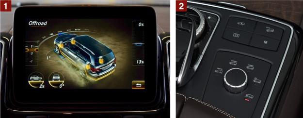 [1] Na ekranie można na bieżąco obserwować m.in. zmianę kąta skrętu kierownicy, nachylenia podjazdu i pochylenia auta. [2] Po prawej stronie jest centrum sterowania trybami pracy napędu (wybiera się je pokrętłem). Przyciskami uruchamia się m.in. asystenta zjazdu ze wzniesienia i reguluje prześwit. /Motor