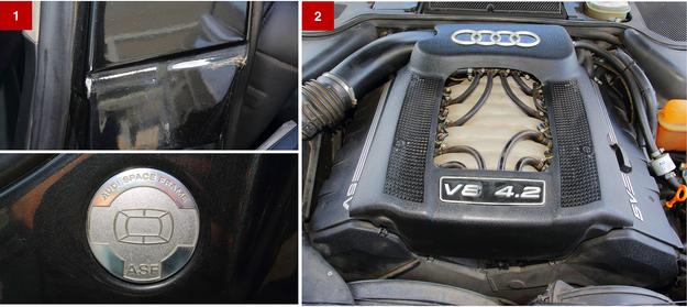 [1] Nadwozie z pewnością nie skoroduje, bo jest aluminiowe. Czasem odpada z niego lakier. [2] 40-zaworowy silnik V8 znosi gaz, ale koszt regeneracji gniazd zaworów to horror! /Motor