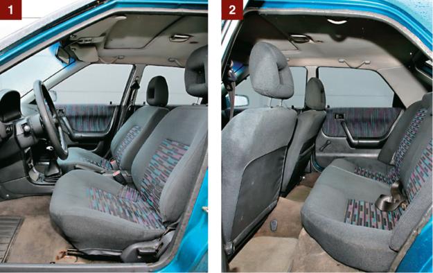 [1] Niska pozycja za kierownicą pozwala uznać, że to rodzaj coupe. Stelaże foteli dawno zardzewiały. [2] Z tyłu mało miejsca na nogi i bardzo mało na głowę. Ale przynajmniej kanapa ma dość długie siedzisko. /Motor