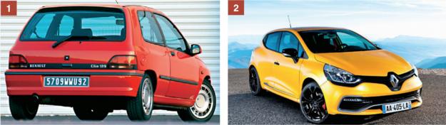 [1] Pierwsze sportowe Clio - 16S z 16-zaworowym silnikiem 1.8 o mocy 140 KM. [2] Model aktualny - duży, wygodny i szybki, ale bez wyczynowego zacięcia. /Motor