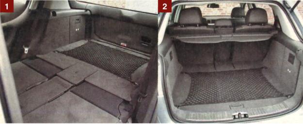 [1] Po złożeniu tylnej kanapy mamy pokaźnych rozmiarów przestrzeń ładunkową, godną niedużego pojazdu dostawczego. [2] Przeszło 500-litrowy bagażnik o regularnych kształtach pomieści ekwipunek czterech osób. Mocowanie małych przedmiotów ułatwia siatka. /Motor
