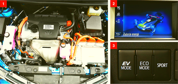 """[1] Pod maską są jednostki benzynowa i elektryczna, drugi """"elektryk"""" jest z tyłu. [2] Ciekawa grafika na ekranie centralnym pokazuje, w jaki sposób aktualnie przepływa energia w układzie hybrydowym. [3] W trybie EV auto nie zużywa benzyny (działa do około 55-60 km/h). /Motor"""