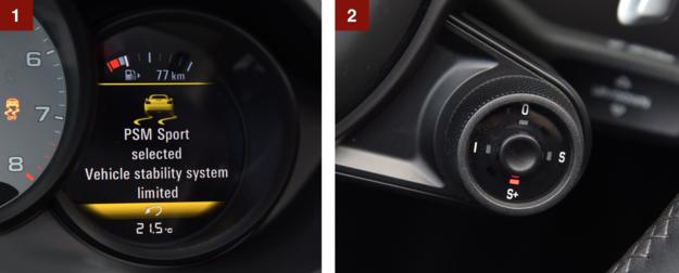 [1] Podobnie jak w odnowionych 911, także 718 ma sportowy tryb pracy układu ESP. [2] Nowość – pokrętło wyboru trybów jazdy. Przyciskiem poprawia się reakcje silnika. /Motor