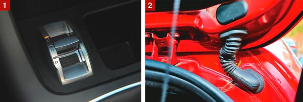 [1] Przełącznik trybu jazdy DNA: w każdej Giulietcie, bez dopłaty. [2] Wiązka dochodząca do tylnej klapy przeciera się. Przed zakupem sprawdź działanie tylnej wycieraczki. /Motor