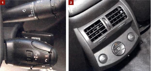 """[1] Przełączniki rodem z najtańszych modeli to naszym zdaniem pełna klapa. Ciekawe, jak będzie się czuł właściciel auta za ponad 200 tys. zł, w którym wiele elementów wnętrza jest wspólnych z takimi modelami, jak Citroen Berlingo czy C2.[2] Pasażerowie tylnej kanapy mają do dyspozycji trzecią """"strefę"""" klimatyzacji z własnymi nawiewami. /Motor"""