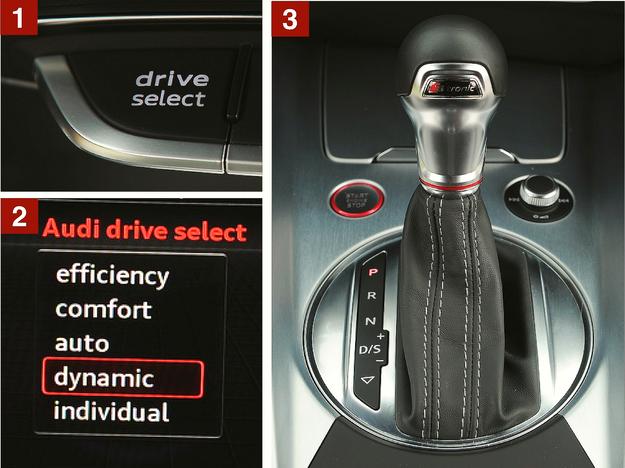 """[1] Przełącznikiem na konsoli centralnej można wybrać jeden z pięciu trybów pracy. [2] Nawet w tym najbardziej sportowym """"dynamic"""" czuć, że bezpieczeństwo prowadzenia tego 310-konnego auta było priorytetem. [3] Skrzynia S tronic (dopłata 9900 zł) ułatwia codzienną eksploatację auta, a nie odbiera mu walorów sportowych. /Motor"""