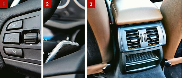 [1] Przyciski na kierownicy po lewej stronie obsługują tempomat. [2] Skrzynię automatyczną wyposażono w manetki. [3] Pasażerowie z tyłu mogą tylko otworzyć lub zamknąć nawiew, temperatury nie zmienią. /Motor