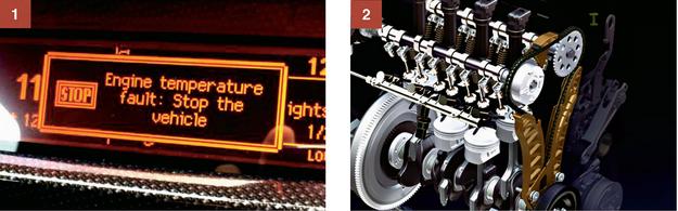 [1] Psuje się czujnik temperatury w 1.6. Pojawia się informacja o przegrzaniu - nieprawdziwa. [2] Łańcuch rozrządu w 1.6 THP - sprawia problemy w samochodach z lat 2010-2013. /Motor