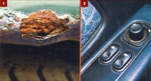 [1] Rdza pojawia się zwykle w niestarannie naprawionych autach. [2] Elektryczne szyby i lusterka to z reguły standard w Scorpio. /Motor