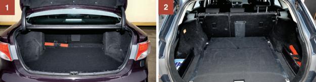 1. SEDAN: pojemność 510 litrów, duży otwór załadunkowy. Nadkola istotnie zmniejszają powierzchnię użyteczną bagażnika. 2. KOMBI: 545-1610 l to pojemność przestrzeni bagażowej. Pod podłogą umieszczono dwudzielny schowek. /Motor