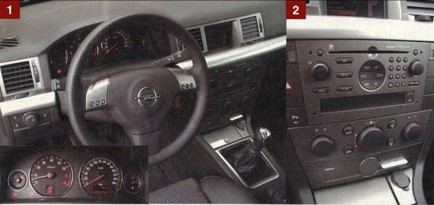 """[1] Tablica przyrządów jak w Vectrze - niezbyt piękna, ale jakość materiałów i montażu na bardzo wysokim poziomie. [2] W """"topowym"""" Signum na środkowej konsoli mamy kolorowy ekran, radioodtwarzacz z nawigacją oraz dwustrefową klimatyzację. Wszystko z dużymi pokrętłami i przyciskami. /Motor"""