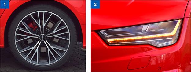 [1] Wszystkie cztery tarcze hamulcowe mają średnicę aż 17 cali. Czerwone zaciski wyróżniają odmianę competition spośród pozostałych Audi. [2] Aktywne reflektory LED Matrix-Beam wymagają dopłaty 4610 zł. Ale zdecydowanie są tego warte! /Motor