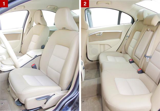 [1] Wygodę tych foteli można docenić po każdej dłuższej trasie. [2] Duży tunel środkowy przeszkadza trzeciemu pasażerowi. /Motor