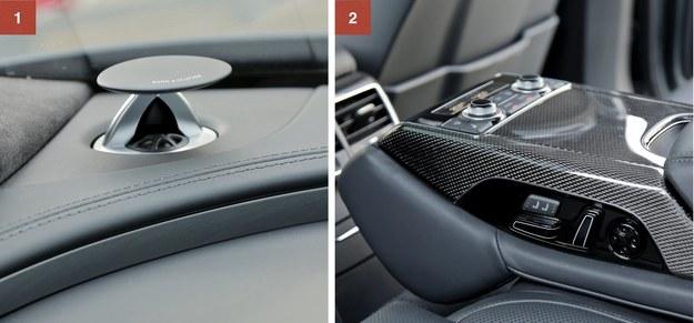 [1] Wysuwane głośniki systemu Bang&Olufsen (kosztującego aż... 30 tys. zł). [2] Sterowanie komfortowymi tylnymi fotelami w podłokietniku (dopłata ponad 16 tys. zł). Wyżej – panel 4-strefowej klimatyzacji. /Motor