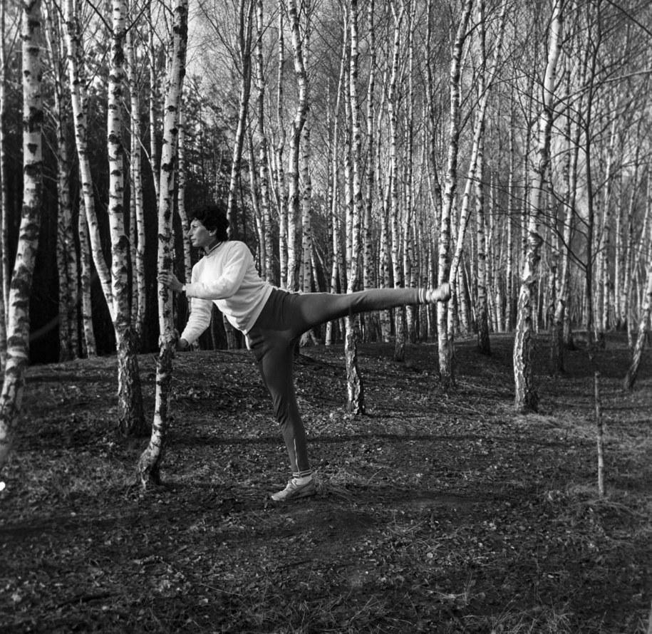 1980 r., Irena Szewińska na treningu na Jelonkach /PAP/Irena Jarosińska /PAP