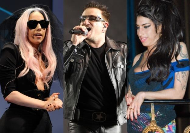 2011: Lady GaGa (fot. Ethan Miller), U2 (fot. Mark Metcalfe) i Amy Winehouse (fot. Ian Gavan) /Getty Images/Flash Press Media