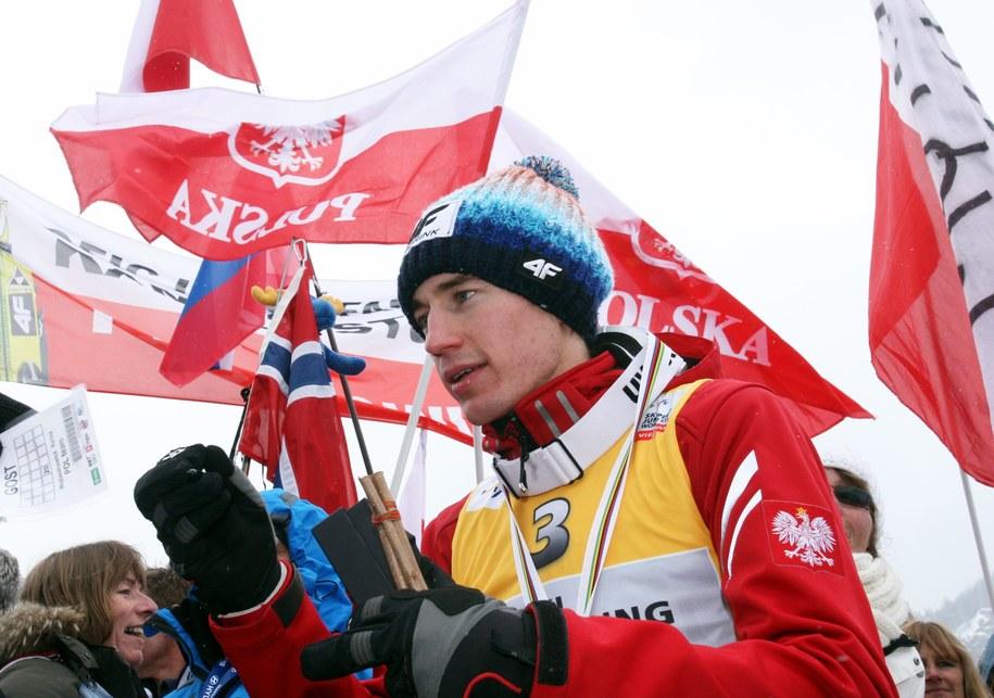25-letni Kamil Stoch w 2013 r. w słoweńskiej Planicy uplasował się na ósmej pozycjii /Grzegorz Momot /PAP