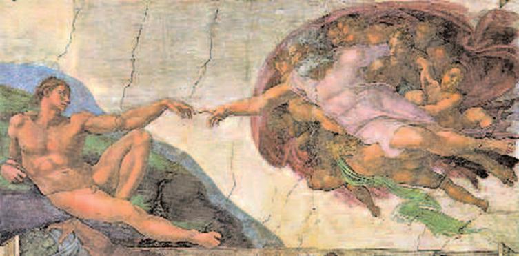3 Stworzenie Adama, fresk Michała Anioła z kaplicy Sykstyńskiej, ok. 1511 r. 3 Stworzenie Adama, fresk Michała Anioła z kaplicy Sykstyńskiej, ok. 1511 r. /Encyklopedia Internautica
