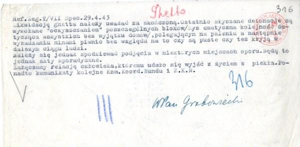 """Raport Referatu Żydowskiego """"Żegota"""" o zakończeniu likwidacji getta; AAN, Delegatura Rządu RP na Kraj, sygn. 202/XV/2, s. 316"""