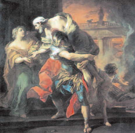 9 Eneasz niosący Anchizesa, Carle Van Loo, 1729 r. 9 Eneasz niosący Anchizesa, Carle Van Loo, 1729 r. /Encyklopedia Internautica