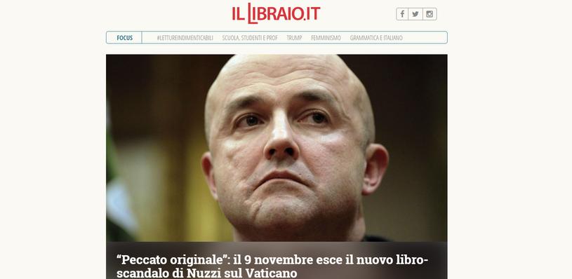 """9 listopada ukazała się książka """"Grzech pierworodny"""" (screen ze strony illibraio.it) /"""