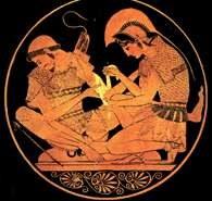 Achilles opatruje rany Patroklesa, malowidło wewnątrz wazy, ok. 500 r. p.n.e. /Encyklopedia Internautica