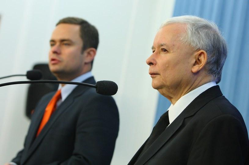 Adam Hofman i prezes PiS Jarosław Kaczyński. /Stanisław Kowalczuk /East News